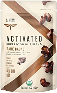 Living Intentions Sprouted Organic Nut Blend– Dark Cacao– NonGMO – Gluten Free – Vegan – Paleo – Kosher – 4 Ounce Unit