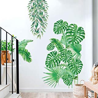 Green Plants Fresh Tropical Leaves Wall Decals, Nature Palm Tree Leaf Plants Wall Stickers, Hanging Tree Vine Art Murals f...