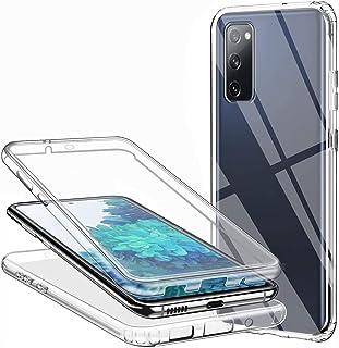 Casecool Hülle für Samsung Galaxy S20 FE Handyhülle 360 Grad, Transparent Full Schutz Kratzfest Dünn Durchsichtige Case Silikon Schutzhülle, Hart PC Zurück  Weich TPU Vorderseite
