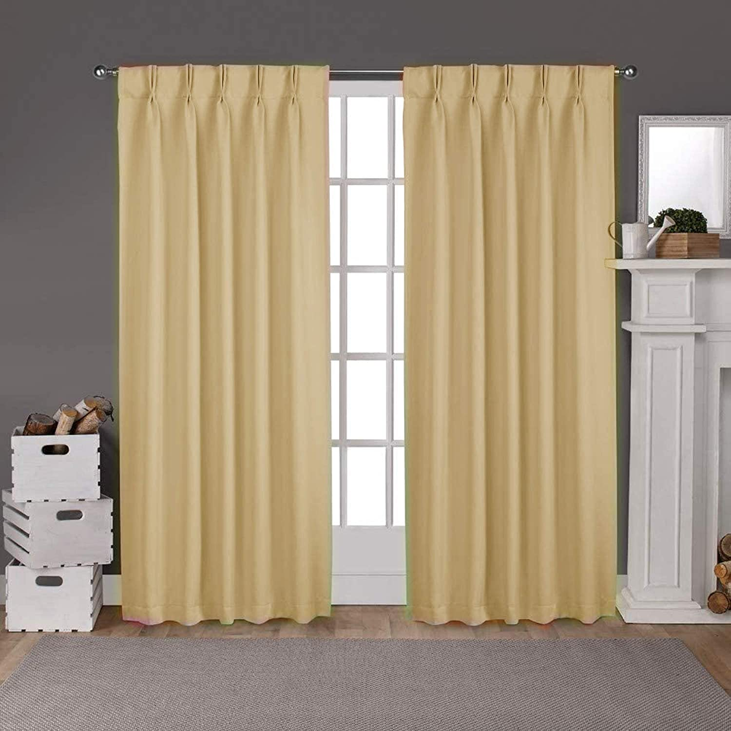 100% Polyester favorite Charlotte Mall Double Pinch Pleated Window Blackout Pane Curtain