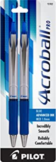 PILOT Acroball Pro Advanced Ink Refillable & Retractable Ball Point Pens, Medium Point, Blue Ink, 2-Pack (31902)