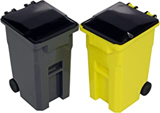 Thornton's Office Supplies Mini Curbside Wrestling Toy Garbage Trash Can and Recycle Can Set Office Desk Pencil Cup Holder (Gray/Yellow)