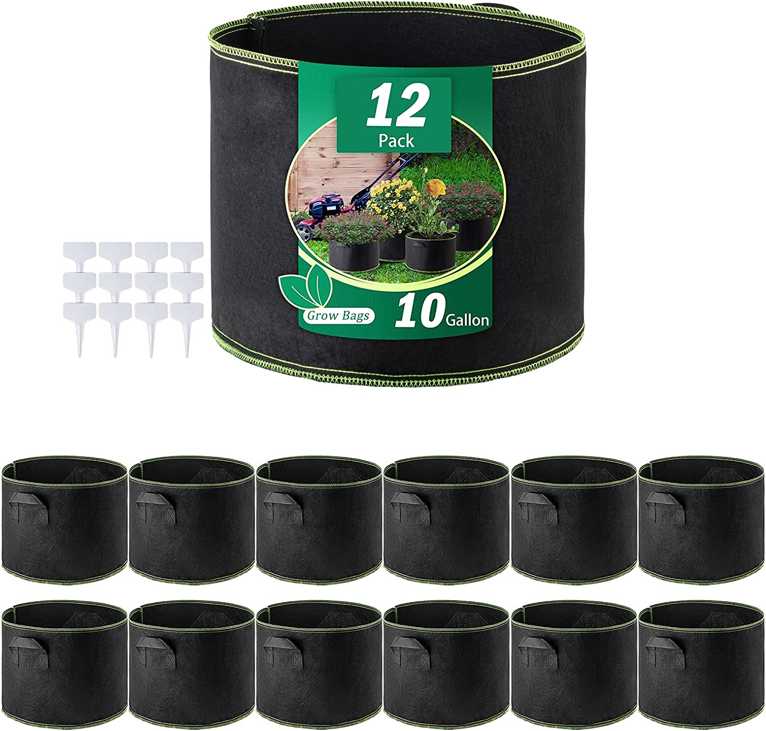 Future Way 10 Gallon Grow Bags with Plant Labels, Heavy Duty Fabric Pots with Handles, 12-Pack