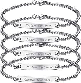 Personalized Friendship Stainless Steel Thin ID Tag Link Bracelet for Best Friend,Bridesmaid Gift
