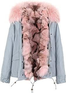 Women's Luxurious Raccoon Fur Collar Hooded Coat Real Fox Fur Liner Parka Winter Short Jacket
