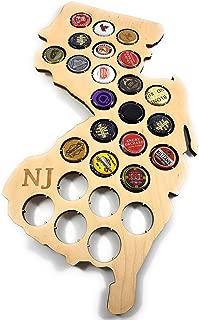 CreaTech Wooden Beer Cap Decor Collectors Holder - New Jersey NJ 26 Beer Cap Display