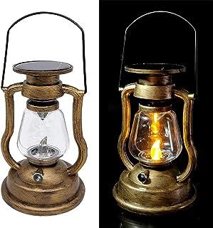 Vintage Lantern Solar Powered, Flickering Flame Solar Lantern Outdoor Hanging LED Night Lights Decorative Candle Lantern f...