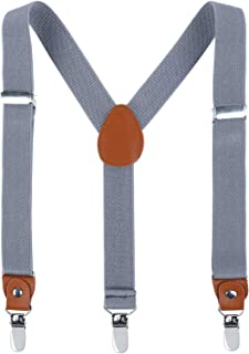 Children Boys Kids Adults Suspenders - Extra Sturdy Metal Clips Genuine Leather suspender