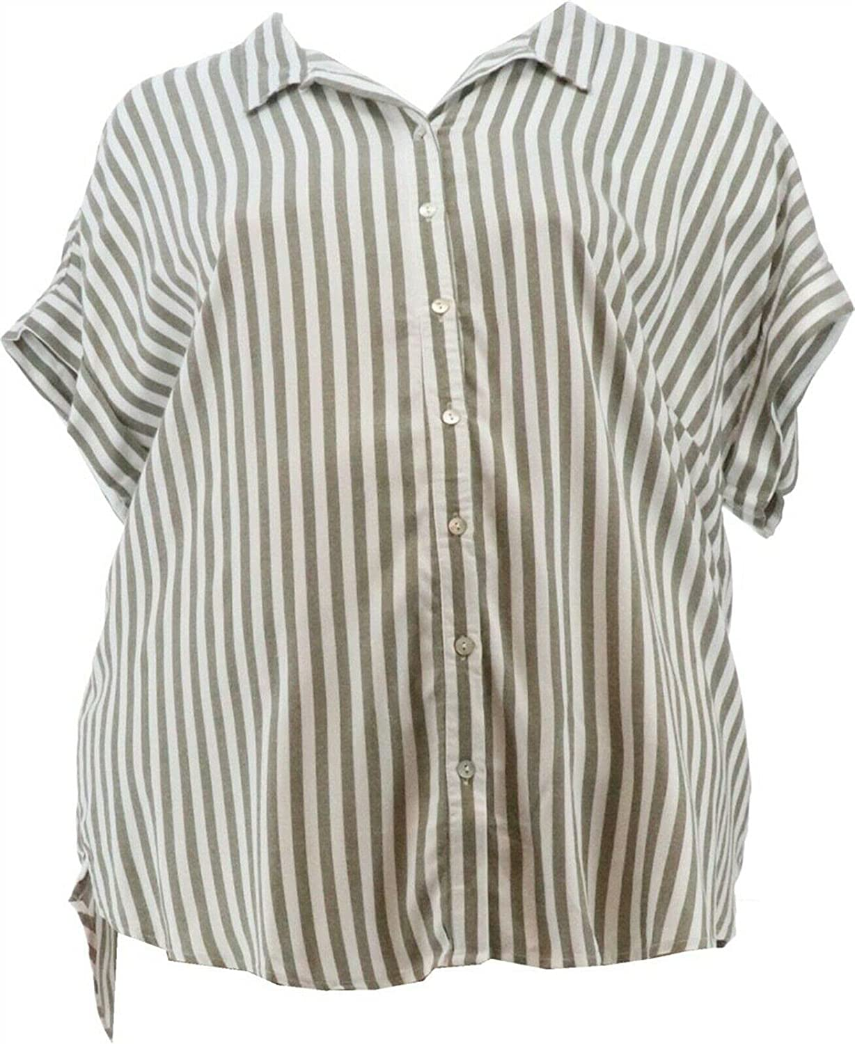 Denim& Co Naturals Striped Button-Front Top A377983 Olive
