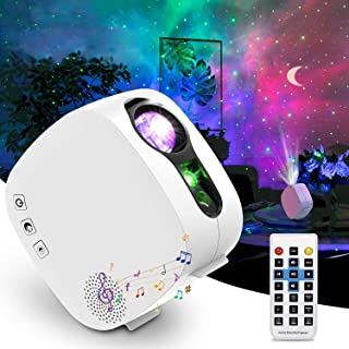 Sky Projector Night Light, LED Star Light Projector for Bedroom with 4-in-1 Moon Nebula Cloud, 360° Rotating Star Light Ga...