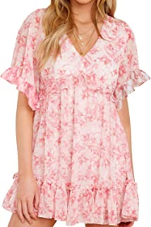 AGQT Women's Casual Summer Tunic Dress Ruffle Hem V Neck Floral Print Short Sleeves Loose Swing Mini Dress