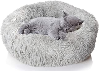 Gluckluz Cat Bed House Pet Dog Nest Kennel Plush Donut Cuddler with Cooling Mat Pad Cute Washable Faux Fur for Kitten Pupp...