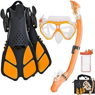 Aisrida Kids Snorkeling Set Children Mask Fin Snorkel Set Snorkeling Gear Snorkel Mask + Adjustable Swimming Kids Flipper...