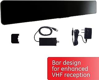 GE Pro Bar Black Indoor TV Antenna, Modern Design, TV Antenna for Entertainment Center and Home Decor, Digital, HDTV Antenna, Smart TV Compatible, 4K 1080p VHF UHF, Coax Cable, Amplifier, 33691