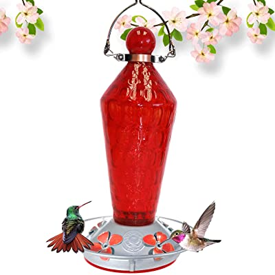 Grateful Gnome - Hummingbird Feeder - Hand Blown Glass - Red Wand with Metal Clamp Hanger