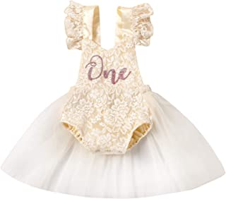 Baby Girl Birthday Clothes First One Lace Ruffle Romper Tulle Tutu Dress Princess Backless Onesie Cake Smash Outfit