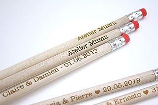 Matita con testo personalizzato, gruppo x5 matite, gomma rosa, regalo personalizzabile