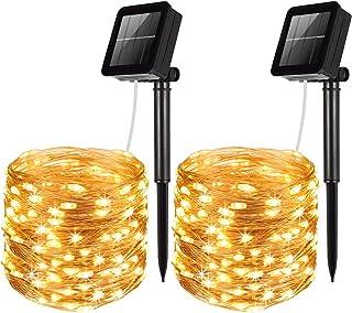 AMIR Solar Powered String Lights, 100 LED Copper Wire Lights, Waterproof Starry String Lights, Indoor/Outdoor Solar Decora...