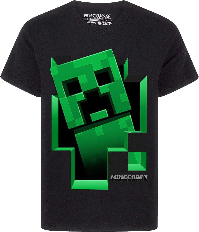 Minecraft Creeper Inside - Camiseta negra con mangas cortas para Niños