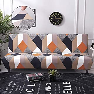 Jaoul High Stretch Patterned Futon Cover for Armless Sofa Bed Elegant Floral 3 Seater Couch Slipcover No Arm Furniture Protector