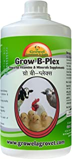 Growel Grow B- Plex - Vitamins & Minerals Supplements For Birds,Goat & Other Farm Animals (500 Ml) (4 bottles)