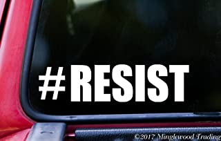 """Minglewood Trading - White - #Resist Vinyl Decal Sticker 6"""" x 1.5"""" Hashtag Resist Resistance - Enough - Never Again - 20 Color Options"""