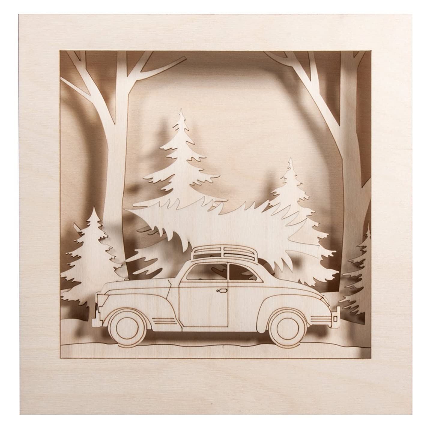 Rayher 46307000 Shadow Box Building Kit with 3D Winter Car Scenery, DIY Wood Craft Set, 14 Slot-Together Pieces, 30x30x6.6cm