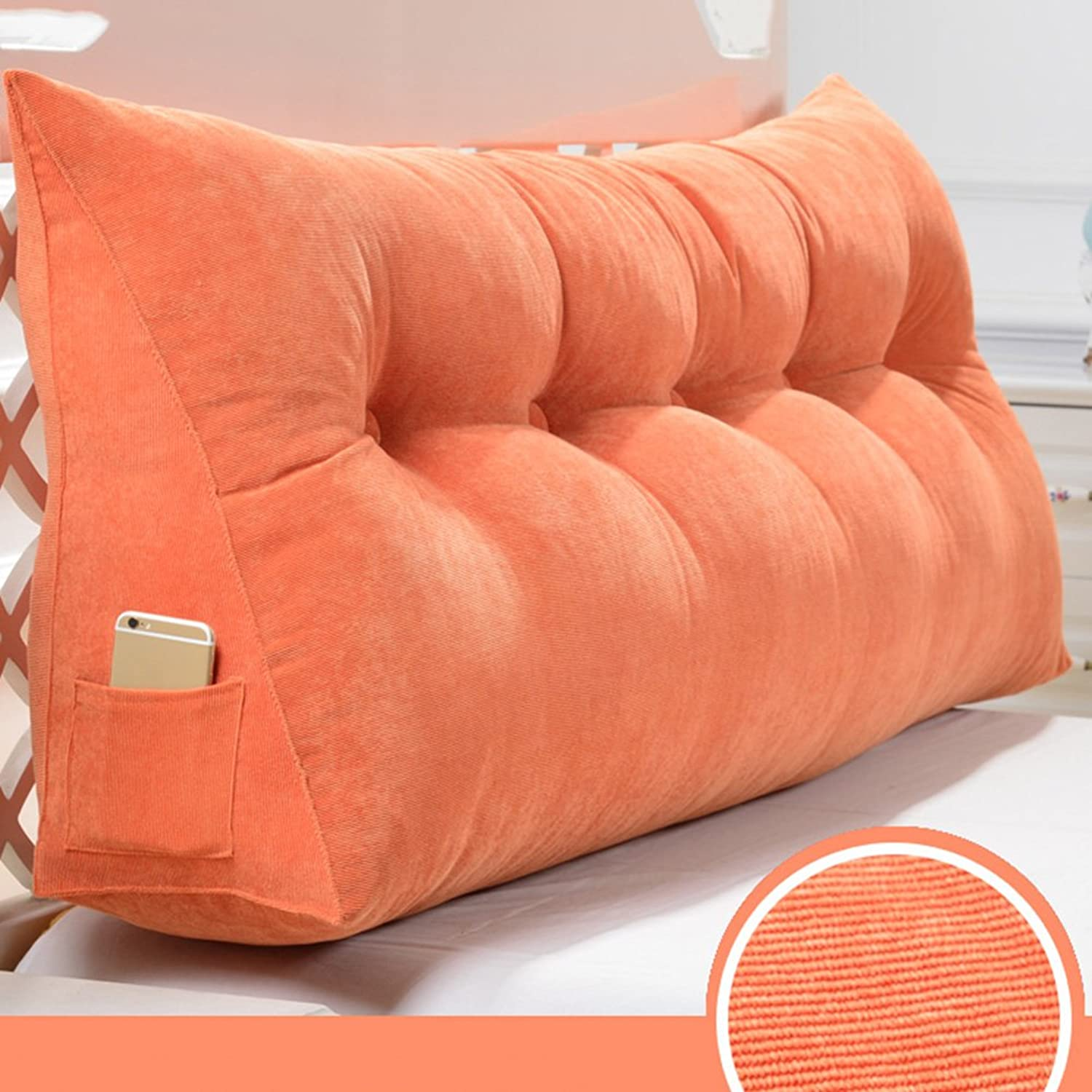 RFJJAL Headboard Cushion Covers for Double Bed King Size Cloth Art Triangular Three-Dimensional Large Back Sofa Lumbar Easy to Wash, 5 colors, 9 Sizes (color   orange, Size   90×50×20cm)