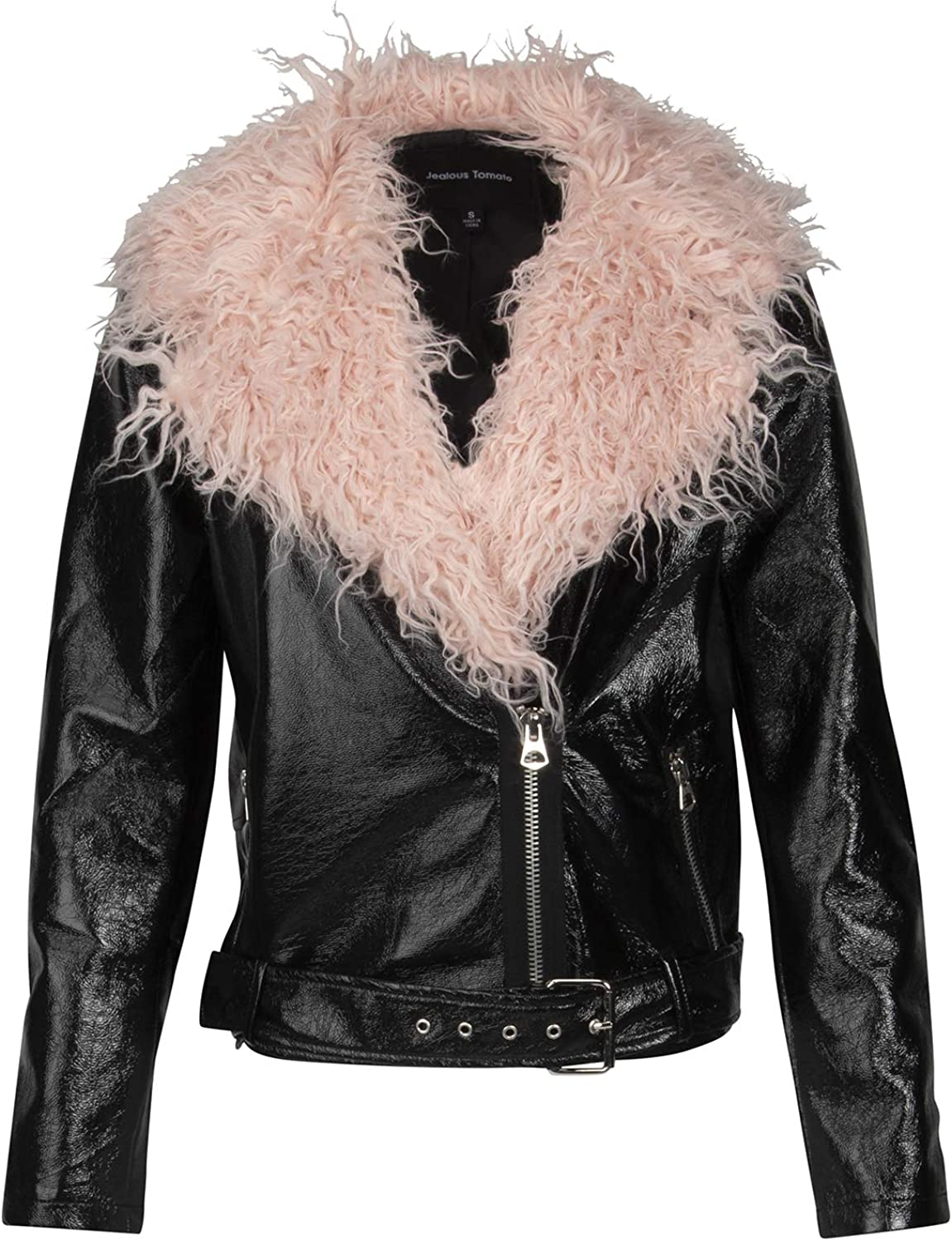 Glam and Gloria Womens Black Vinyl Faux Leather Biker Moto Jacket with Faux Fur Collar