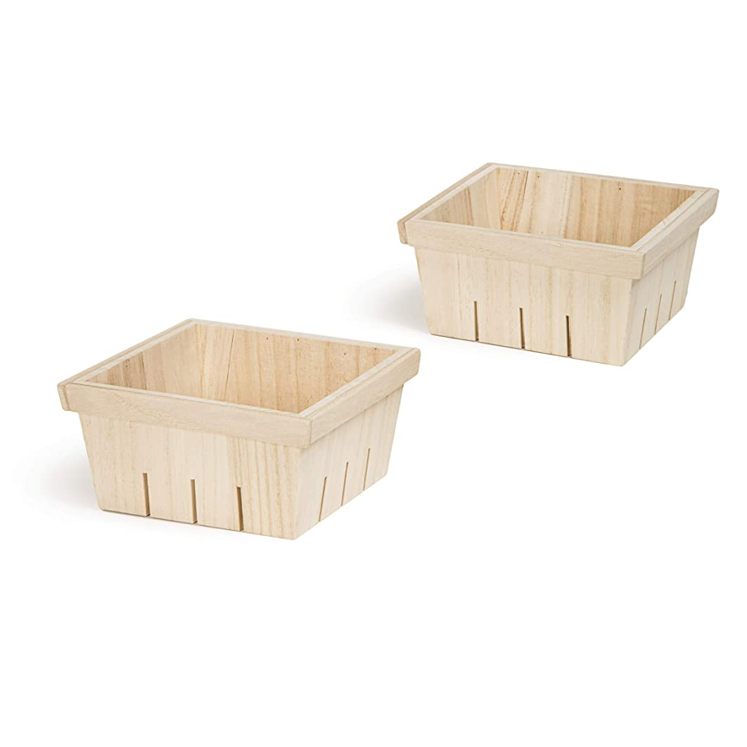 Darice 30041926 Unfinished Baskets: 6.25 x 3.5 inches, 2 Pack Wood Crate, Natural