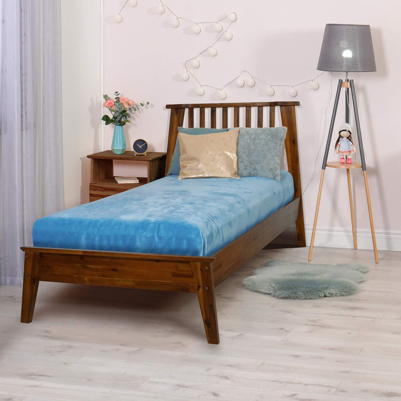 Queen Caramel Acacia Kaylin 14 Inch Wood Platform Bed Frame with Headboard