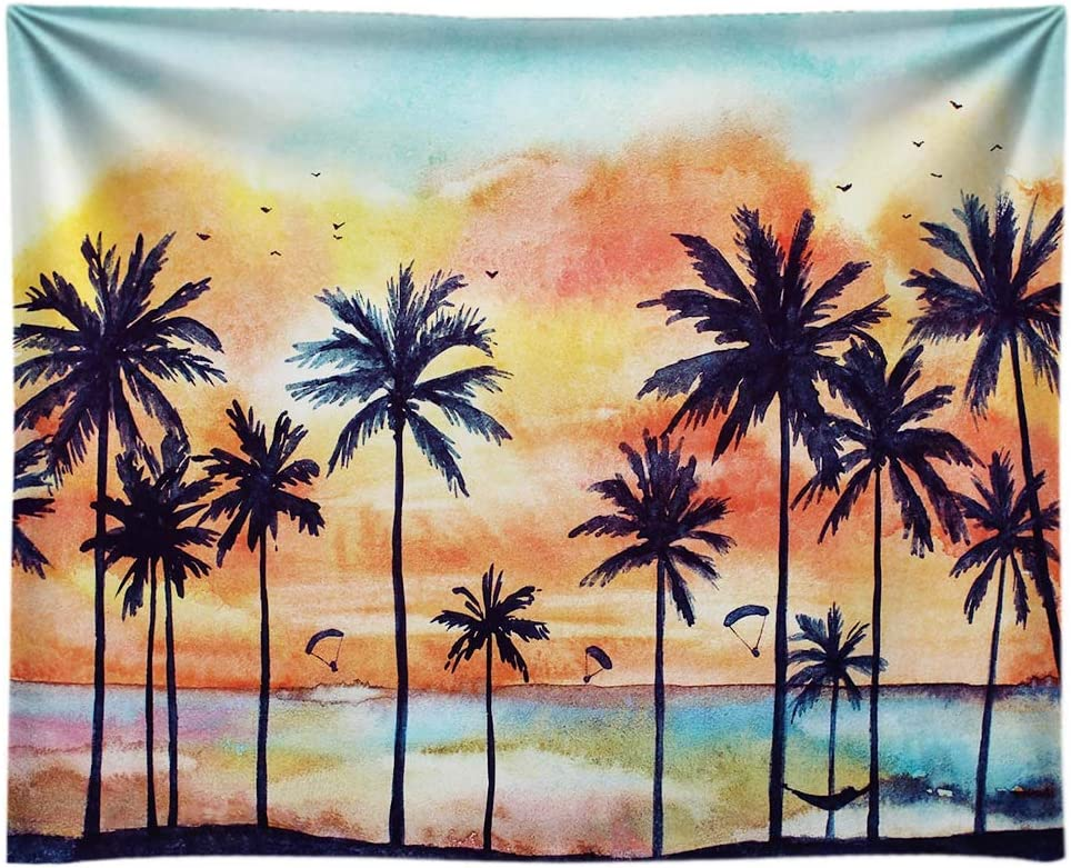 Funnytree 8x6ft Summer Tropical Beach Backdrop for Photography Seaside Sunset Scenery Palm Trees Hawaiian Background Birthday Party Portrait Cake Table Decorations Banner Photo Booth Props