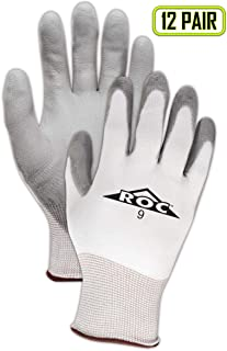 MAGID Mechanics Work Gloves | Coated Mechanic Gloves for Work - Mens & Womens - Grey/White - Size 7 (S) - 12 Pair
