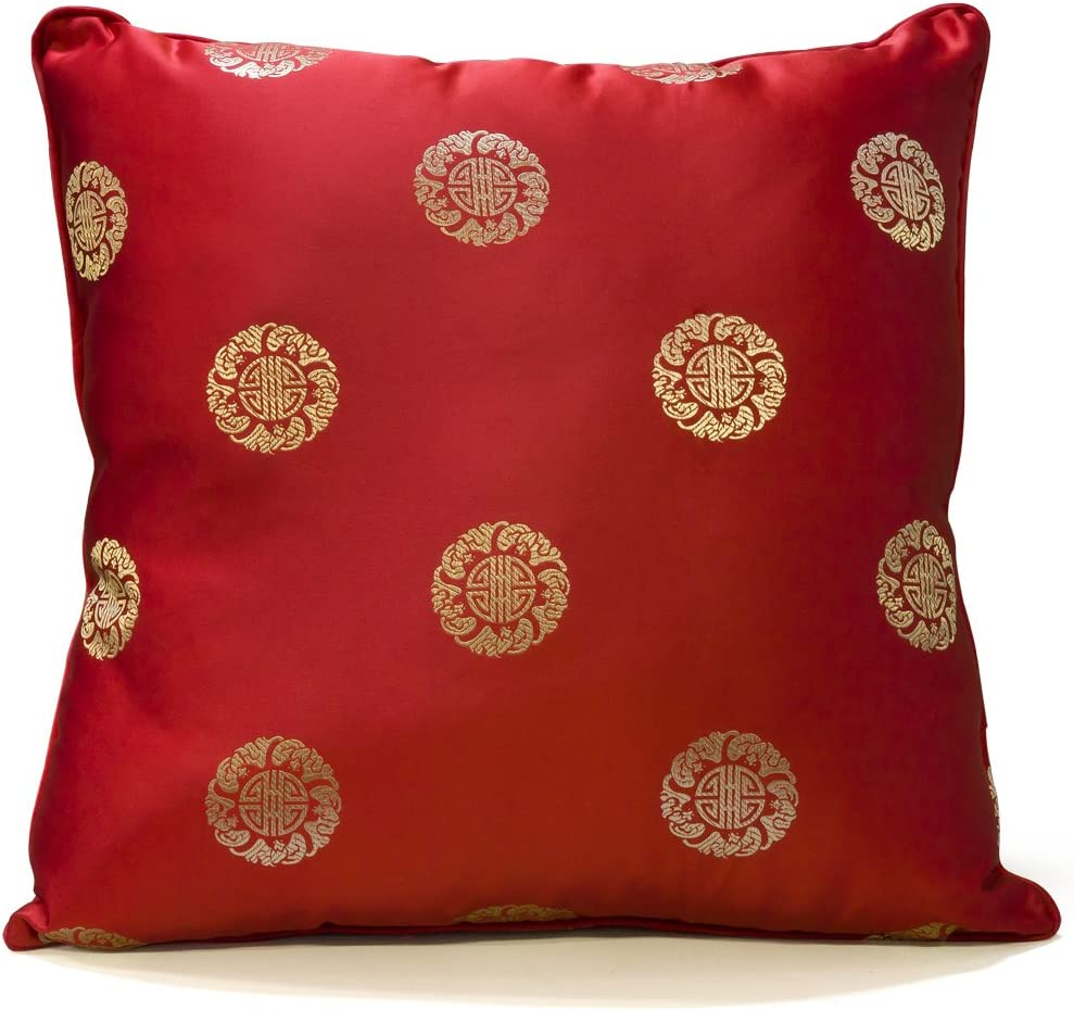 Hand 5% OFF Crafted Chinese Silk Pillow #33 Selling and selling Longevity Red -