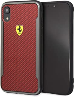 CG Mobile Ferrari Fespchci61Cbre On Track Hard Case with Carbon Effect for iPhone Xr - Red