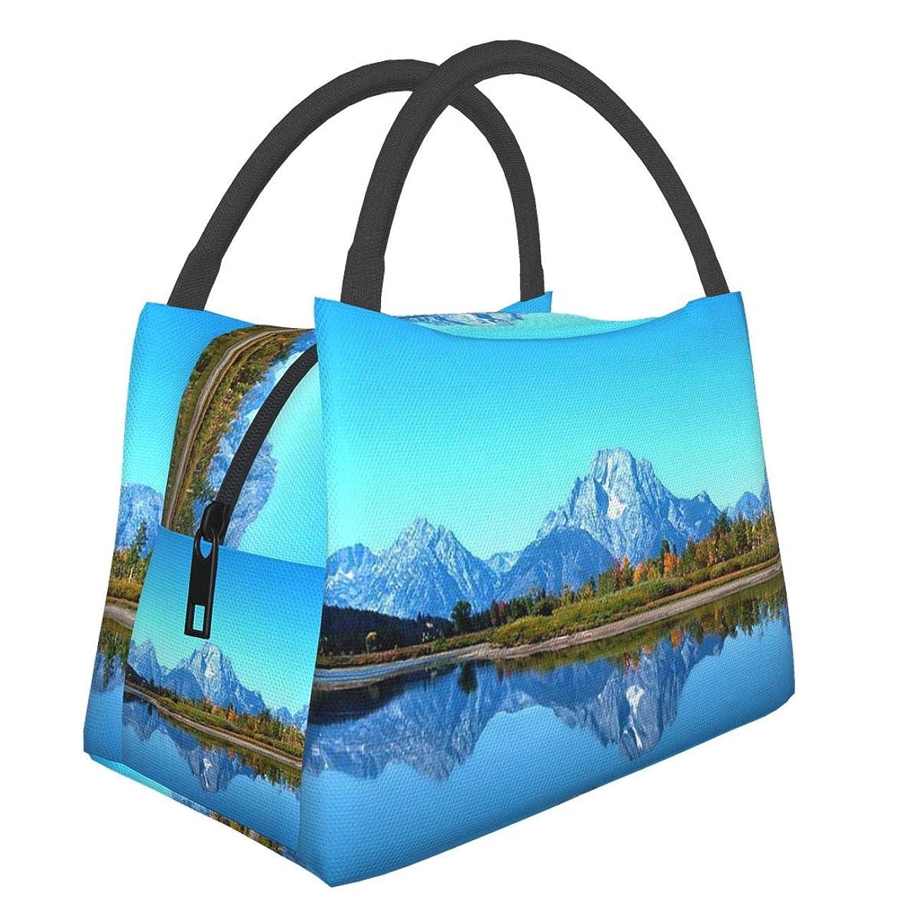議論するこんにちは出くわすAbnii ランチバッグ 保冷バッグ 湖 山 手提げ 買い物バッグ 収納バッグ 保冷 保温 バッグ お弁当 弁当バッグ