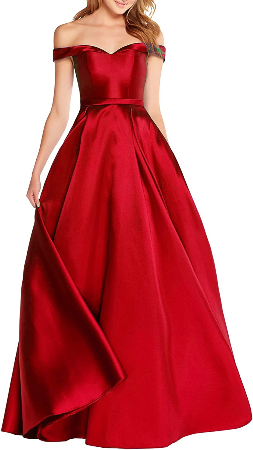 Beauty Bridal Women's Off The Shoulder Satin Evening Dresses Long Prom Gowns with Pocket S041