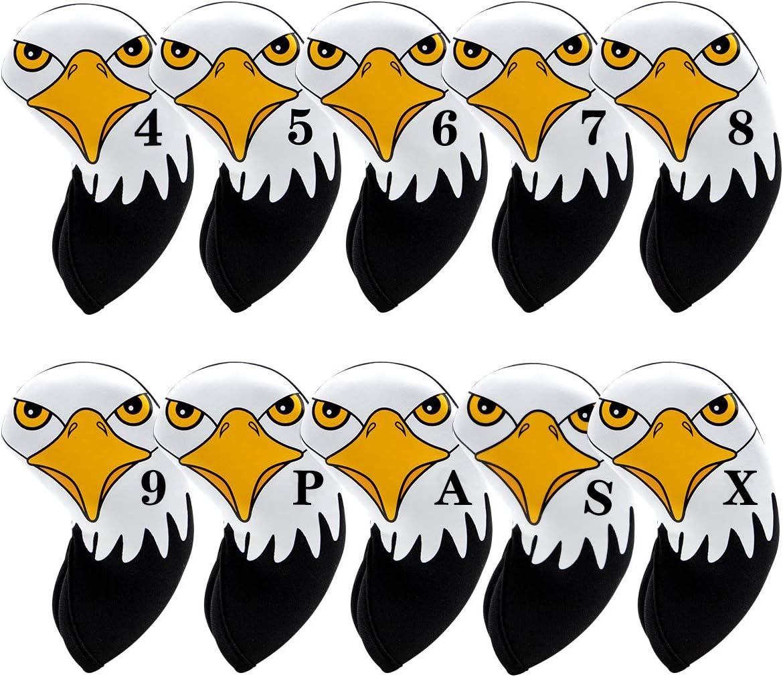 Black Neoprene Golf Iron Covers Set - Club Head Covers - Wedge I