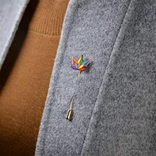 Colorful Rainbow Pin Collar Pin Alloy Maple Leaf Men and Women Brooch Dripping Windmill Clothing Decoration