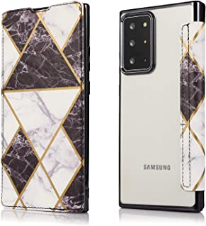 EnjoyCase Leather Case for Samsung Galaxy Note 20 Ultra,Black [Marble Bronzing] Pu Leather Front & Plating Frame Clear Tra...