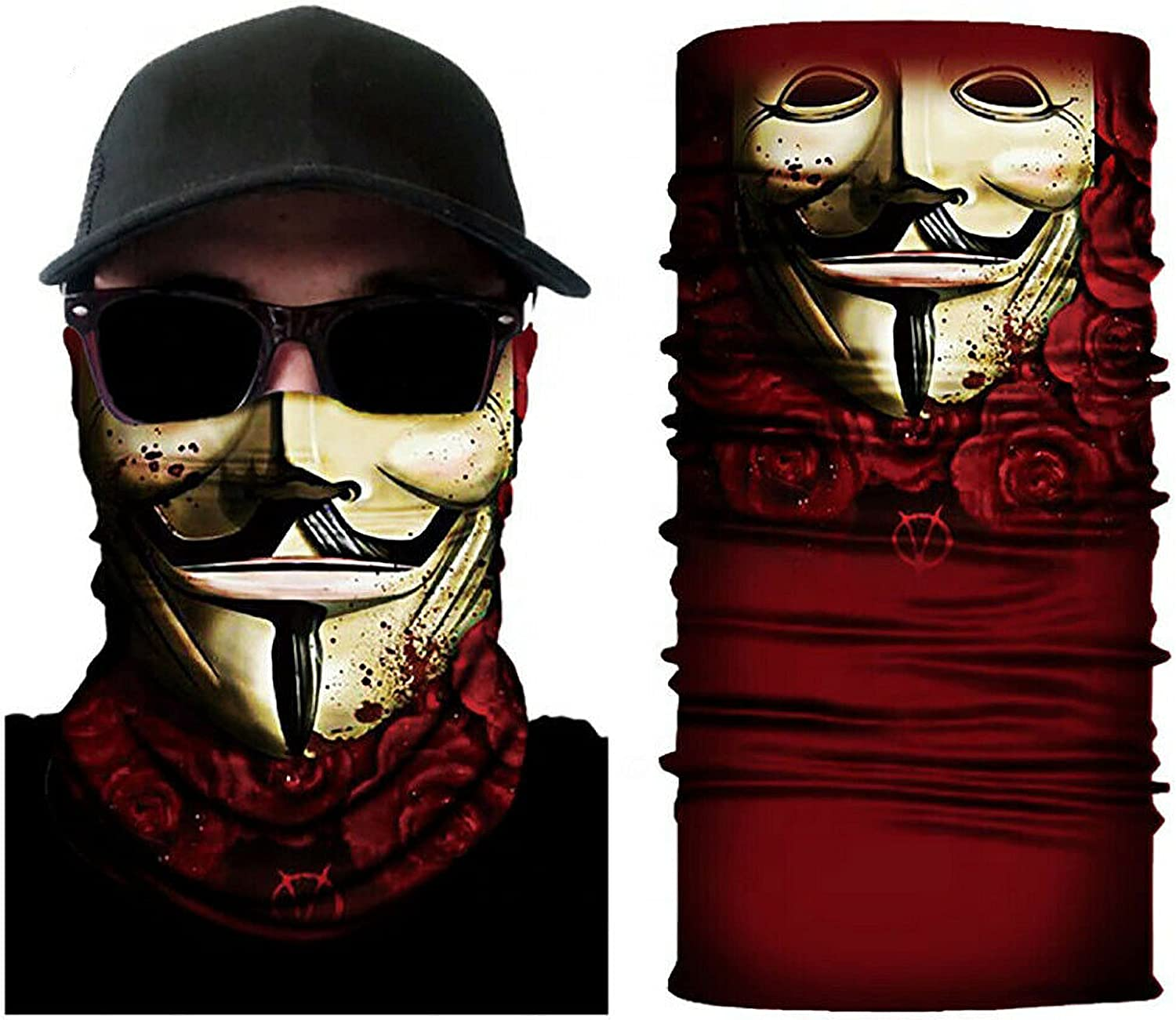 VPK set of 6 or 5 or 4 pcs Bandana Scarf Face Mask Balaclava Neck Mouth Cover for Motorcycling Fishing Cycling Sun