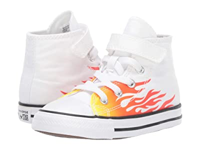 Converse Kids Chuck Taylor(r) All Star(r) 1V Archive Flame Hi (Infant/Toddler) (White/Enamel Red/Fresh Yellow) Boys Shoes