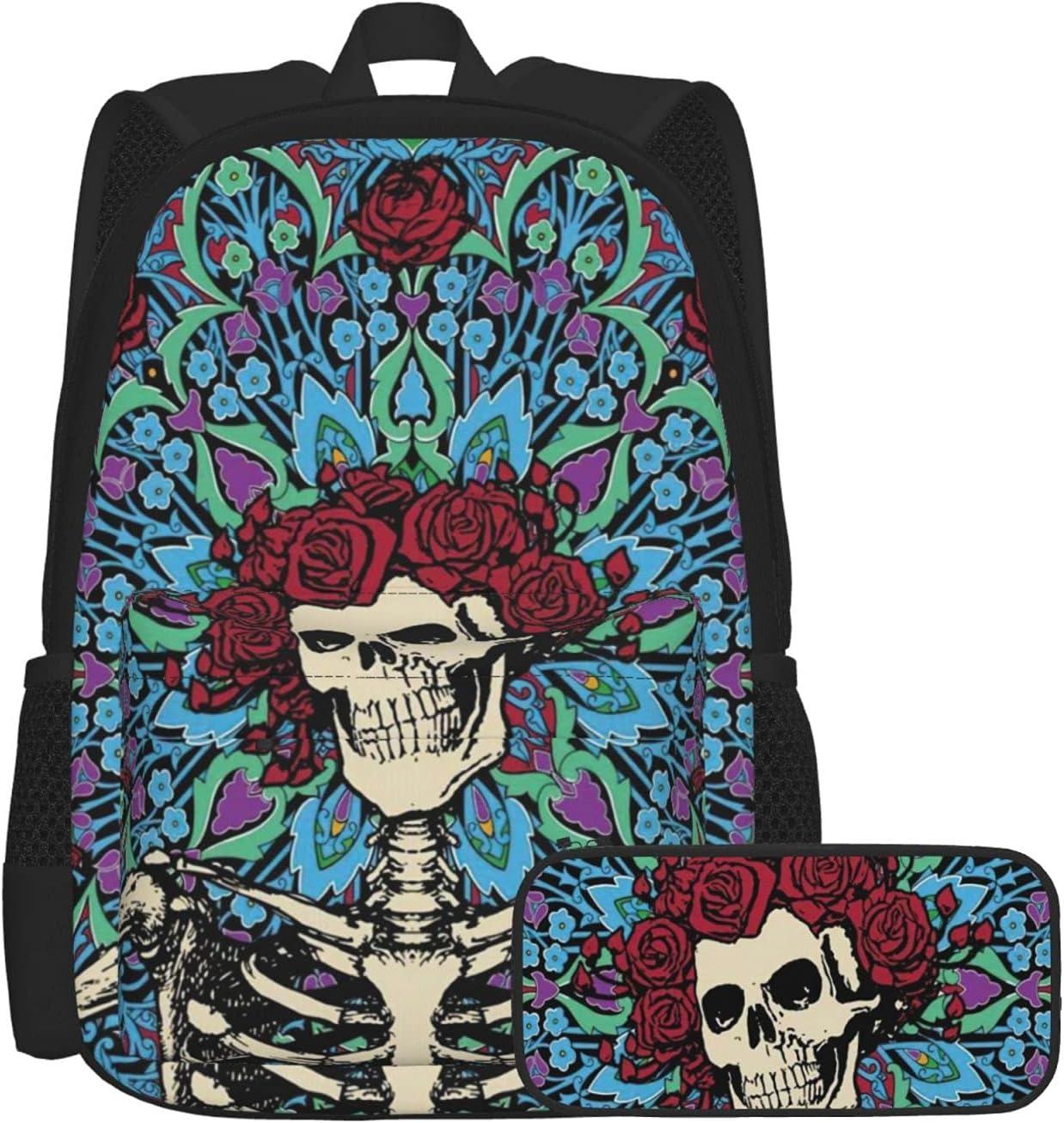 Limited price sale Direct sale of manufacturer Retro Skull Flower Pattern Unisex For Boys Backpack School Schoo