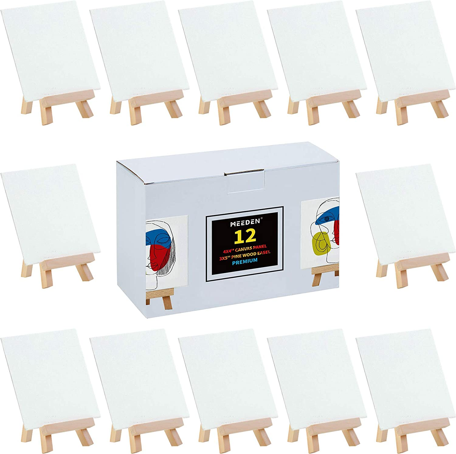 MEEDEN Limited price Mini Canvases with Discount mail order Easels 12 x Canvas Inch Pack 4