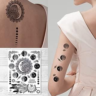 Supperb Temporary Tattoos - Moon phase Tattoo Full Moon Crescent Festival Bohemian Meditation Celestial Tattoo