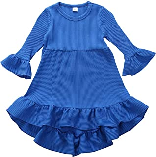 ChenGG Infant Toddler Baby Girls Flare Sleeve Dress Ruffle Striped Solid Color Lovely Princess Dresses Fashion Outfits