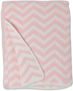 Living Textiles Chenille Baby Blanket. Pink Chevron Ultra-Soft Throw Blanket for Cribs and Strollers (40x30 inch)