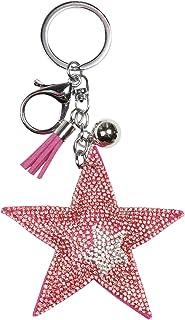Glamexx24 - Portachiavi con ciondolo a forma di stella di cristallo con anello di fissaggio e moschettone