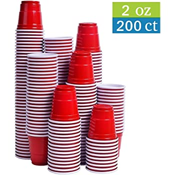 Tashibox Disposable Mini Red Shot Glasses - 2 Ounce - 200 Count - Mini Party Cups, Jager Bomb, Jello Shots, Sample Cups.
