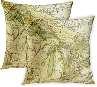 Emvency Set of 2 Throw Pillow Cover Cushion Case Decorative 20 x20 Inch Michigan Early Map of The Great Lakes Printed in Bordeaux France 1795 Ontario Pillowcase Two Sides Print Covers